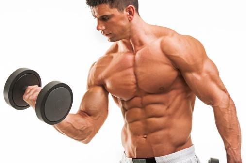 Bodybuilder training stock photo. Image of model, face