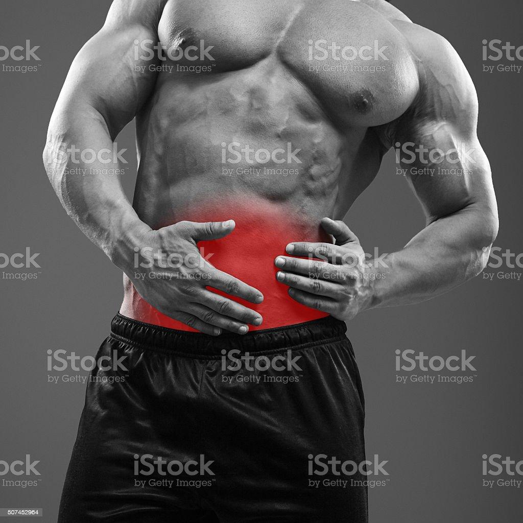Muskel Mann Mit Schmerzen Auf Der Linken Seite Der Bauch Stock ...