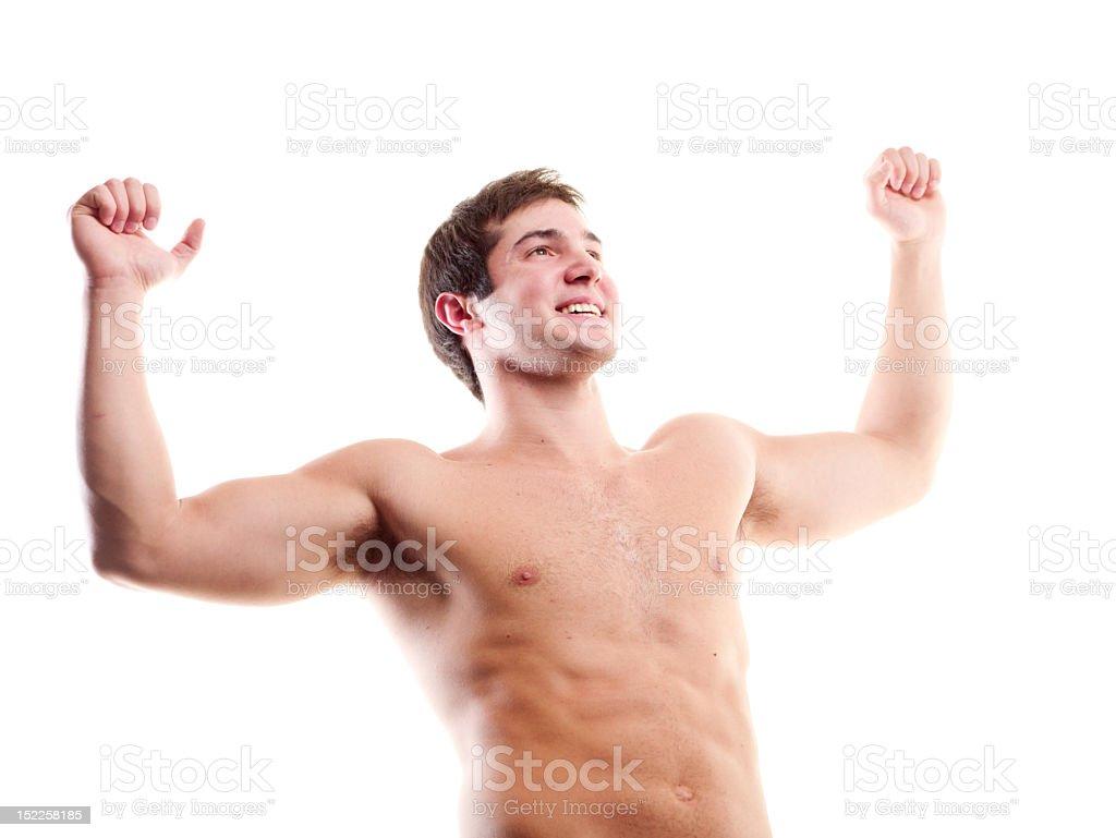 Muskuläre Mann Porträt auf weißem Hintergrund – Foto
