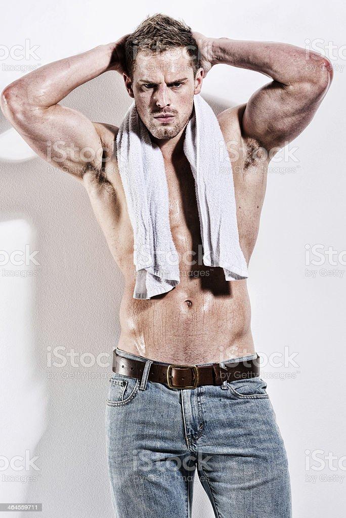 Muscular man posing royalty-free stock photo