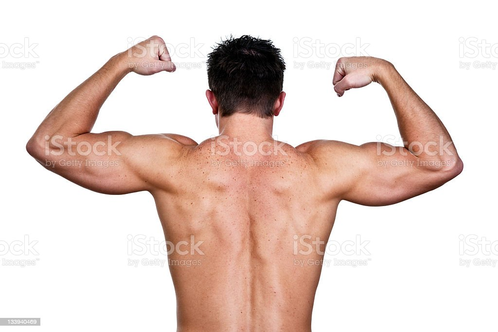 Muscular man shot from the rear royalty-free stock photo
