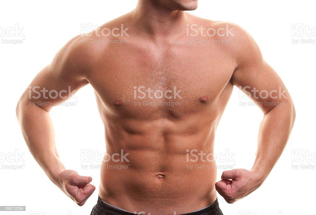 Muskuläre Mann torso auf Weiß – Foto