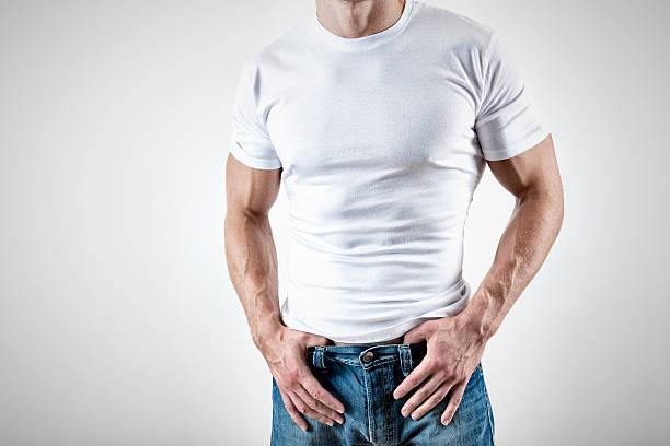 Muscular man wearing white T-Shirt