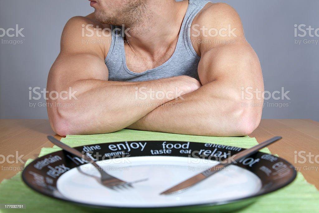 Muscular man con Placa vacía - Foto de stock de Adulto libre de derechos