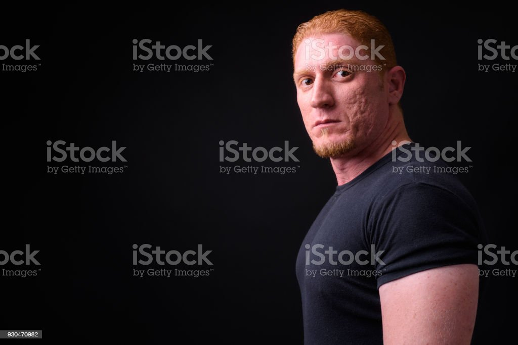 Muscular Man With Orange Hair stock photo