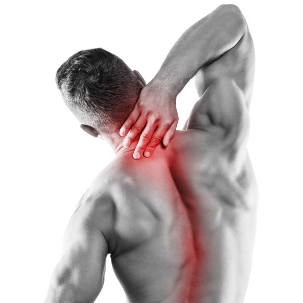 Muscular man with pain in his neck Muscular man with pain in his neck over white background human neck stock pictures, royalty-free photos & images