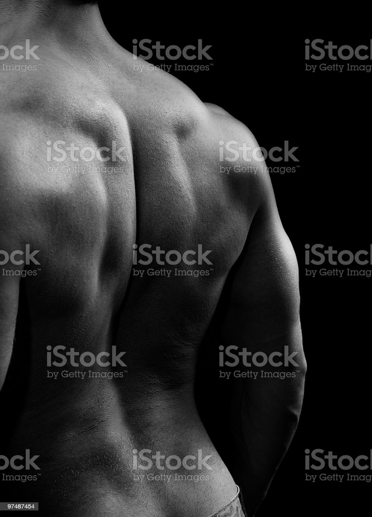 Muscular man with strong back muscles stock photo