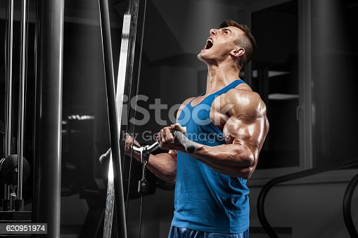 istock Muscular man working out in gym doing exercises at biceps 620951974