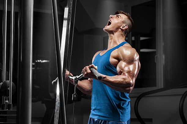 Muscular man working out in gym doing exercises at biceps stock photo