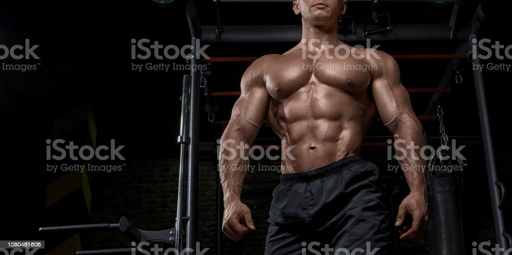 Muscular Man Working Out In Gym Doing Exercises For Biceps