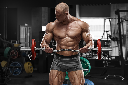 Muscular Man Working Out Gym Doing Exercises Barbell