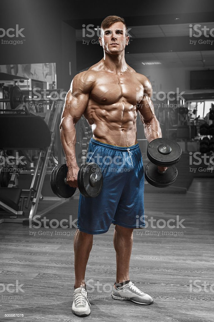 Muscular Man Working Out In Gym Male Naked Torso Abs Stock -1413