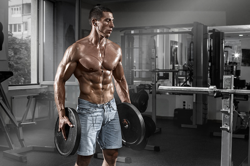 Download premium image of Muscular man working out on the
