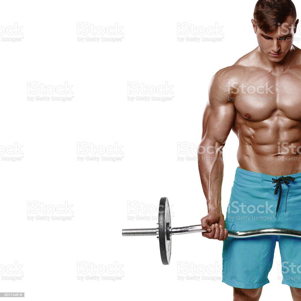 Muskel Mann Workout Starker Mann Nackter Oberkörper Zu Trainieren ...
