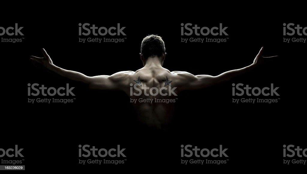 Muscular man's back stock photo
