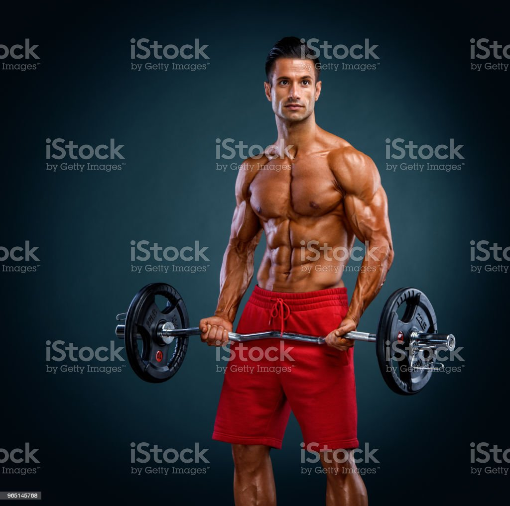 Muscular Men Exercise royalty-free stock photo