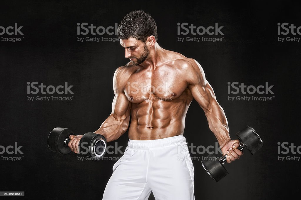 Muscular Men Lifting Weights royalty-free stock photo