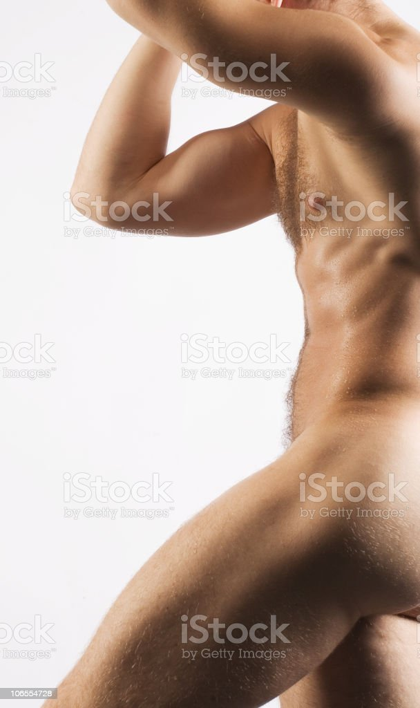 Muscular nude male torso royalty-free stock photo