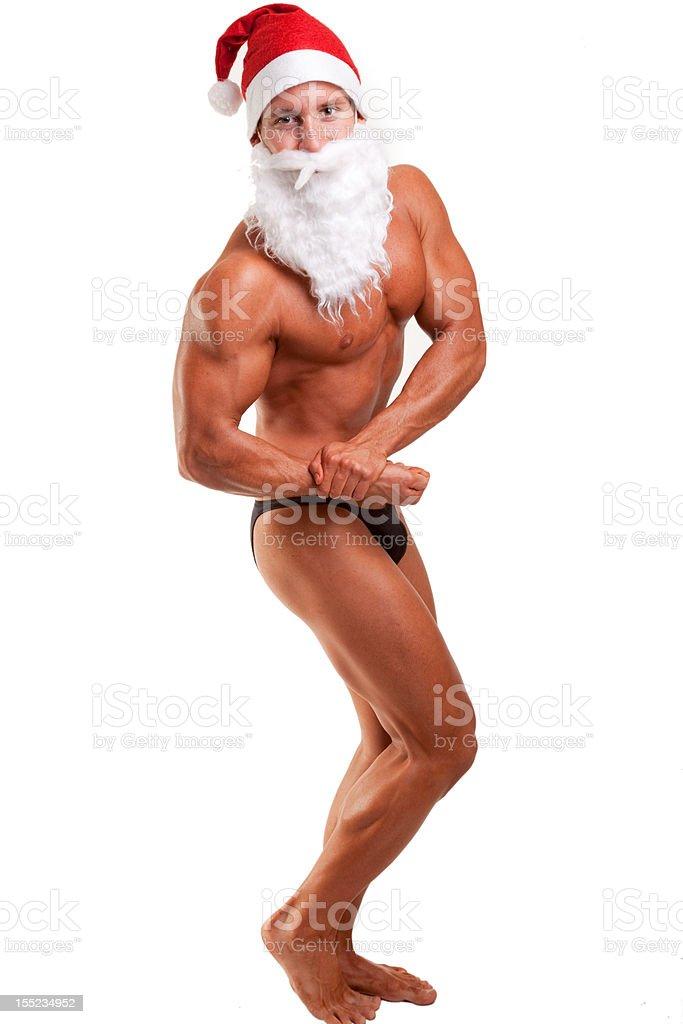 muscular santa claus posing royalty-free stock photo
