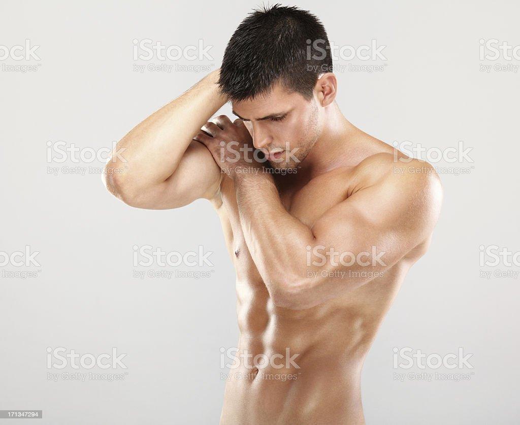 Muscular shirtless man royalty-free stock photo