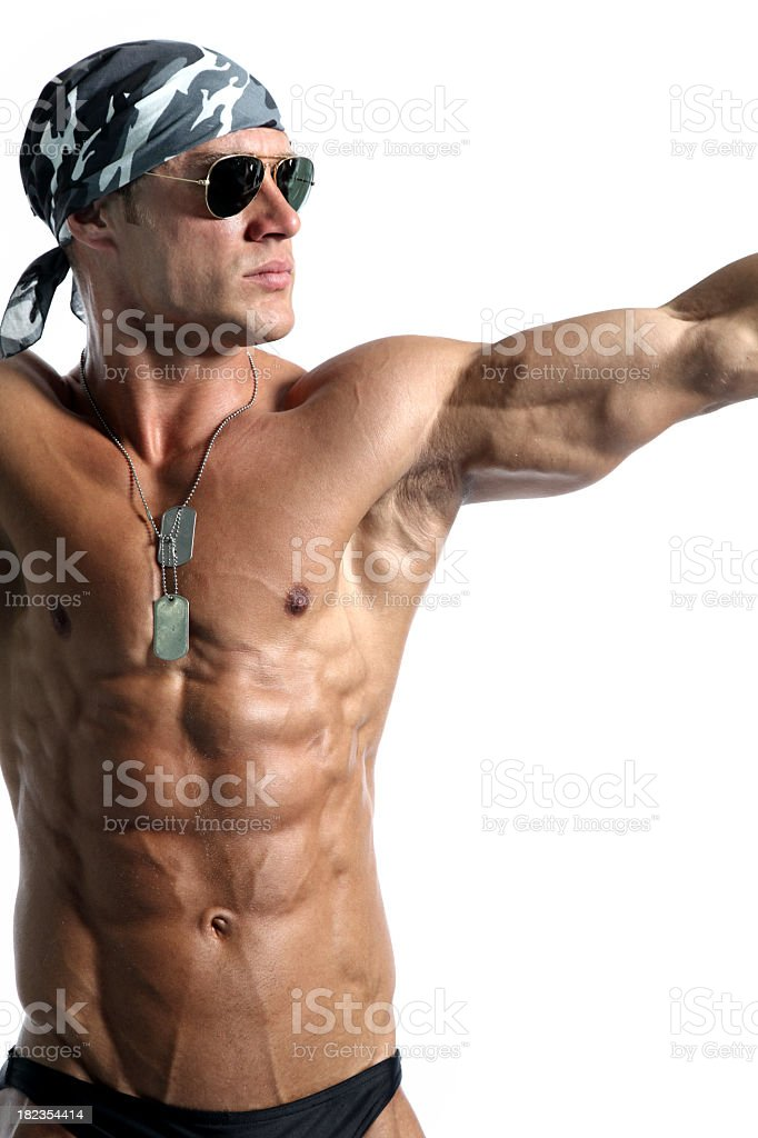 Muscular soldier royalty-free stock photo