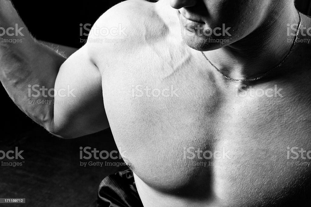 Muscular Torso Black and White royalty-free stock photo