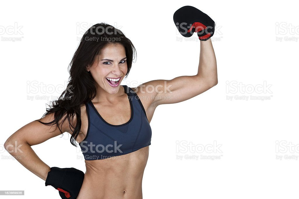 Muscular woman wearing boxing gloves royalty-free stock photo