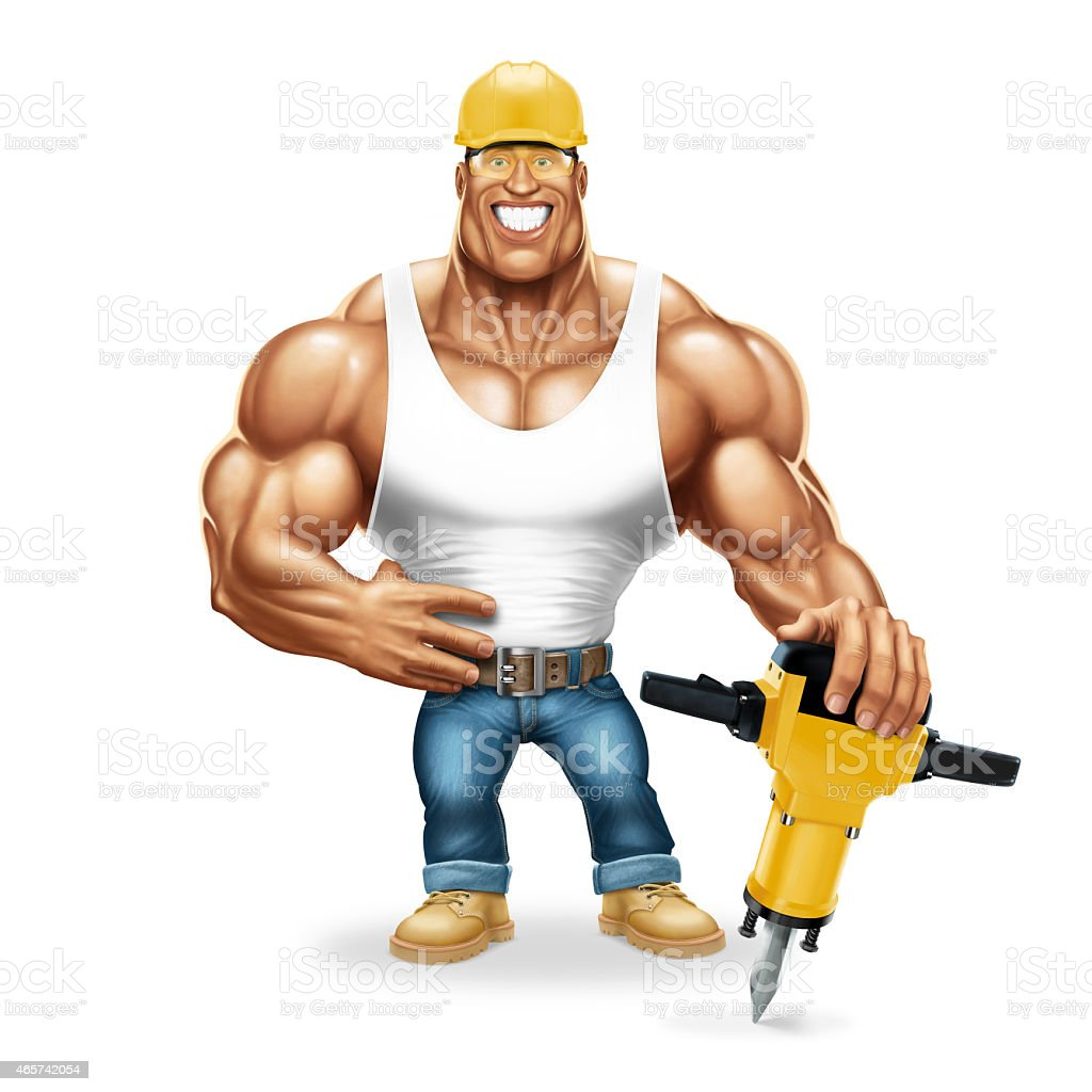 Muscular worker with a pneumatic hammer stock photo