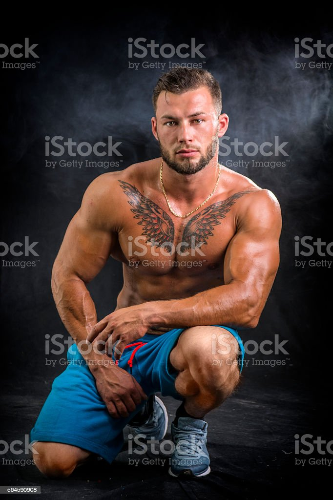 Portrait of bodybuilder stock photo. Image of crime