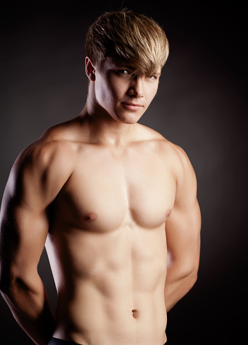 Muscular Young Sexy Nude Man On Studio Stock Photo