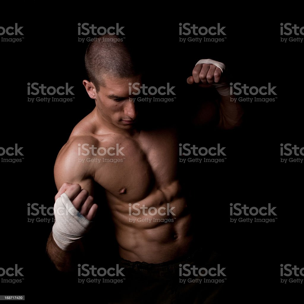 Musculine man with bandages royalty-free stock photo