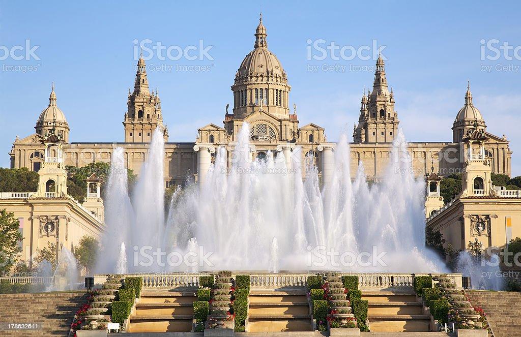 Museu Nacional d'Art de Catalunya and Magic Fountain - Royalty-free Architecture Stock Photo