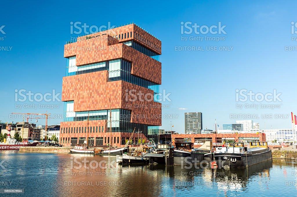 Museum aan de Stroom (MAS) in Antwerp Antwerp, Belgium - July 19, 2016: Museum aan de Stroom (MAS) along the river Scheldt in the Eilandje district of Antwerp,  Antwerp City - Belgium Stock Photo