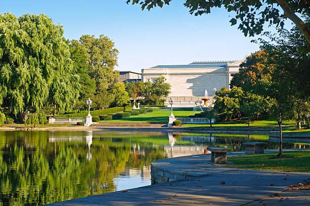 Museum and lagoon stock photo