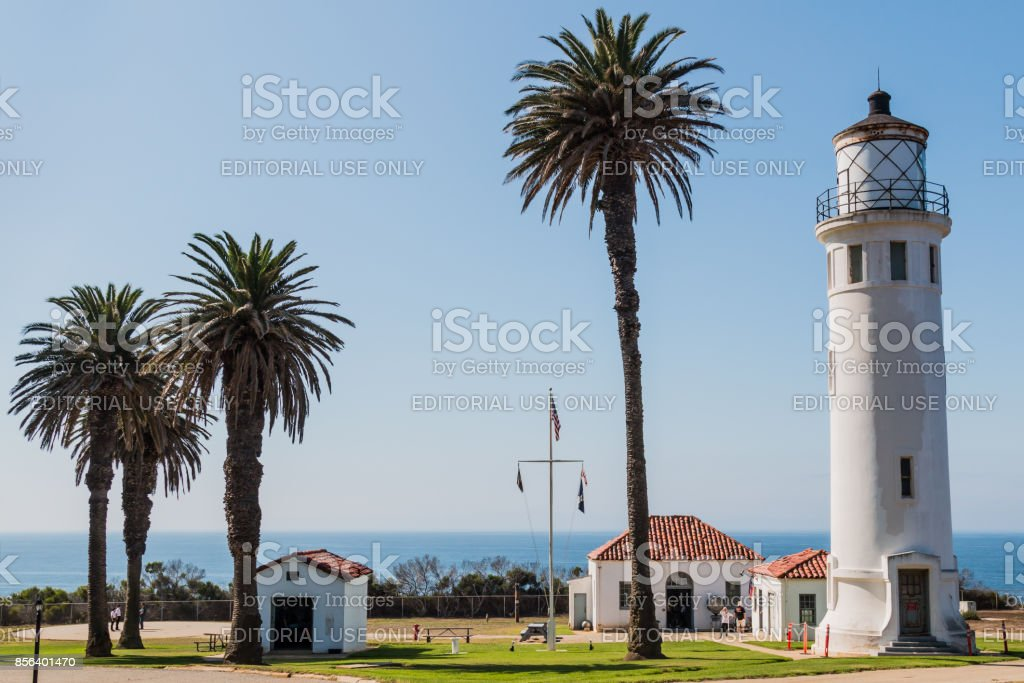 Museum Buildings and Point Vicente Lighthouse in California stock photo