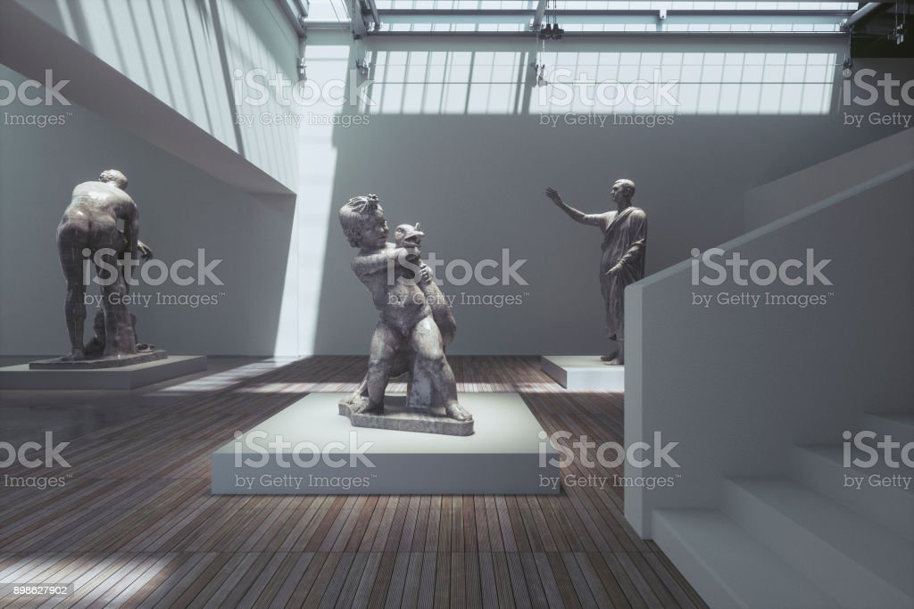 Museum exhibition with ancient sculptures stock photo