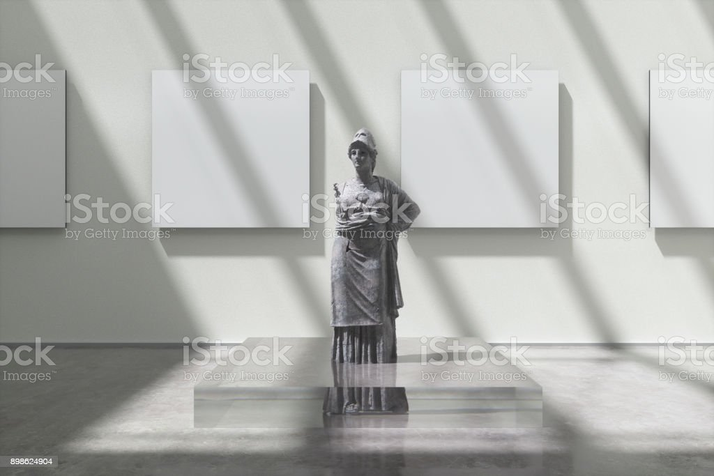 Museum exhibition with Athena sculpture stock photo