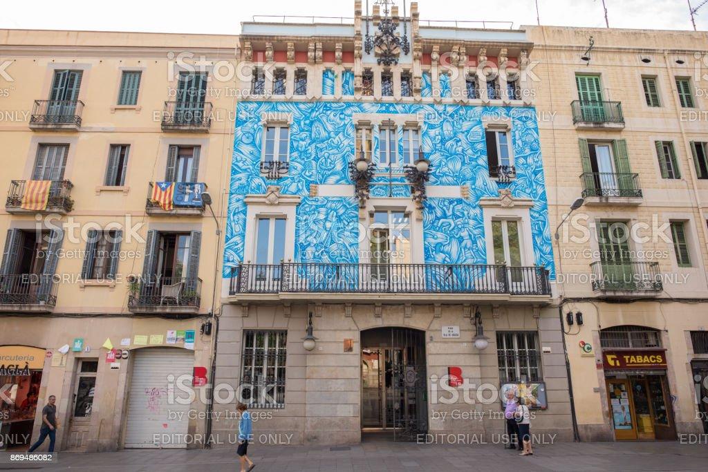 Museum exterior in Plaza Vila de Gracia in Barcelona stock photo