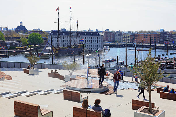 NEMO museum in Amsterdam, Netherlands Amsterdam, Netherlands - May 2, 2016: Children have fun learn about science with these cool solar energy platform games.  nemo museum stock pictures, royalty-free photos & images