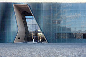 Warsaw, Poland - April 6, 2015: Entrance to POLIN, Museum of the History of Polish Jews in Warsaw, Poland. The museum opened in 2013 and its core exhibition occupies more than 4 000 square metres.