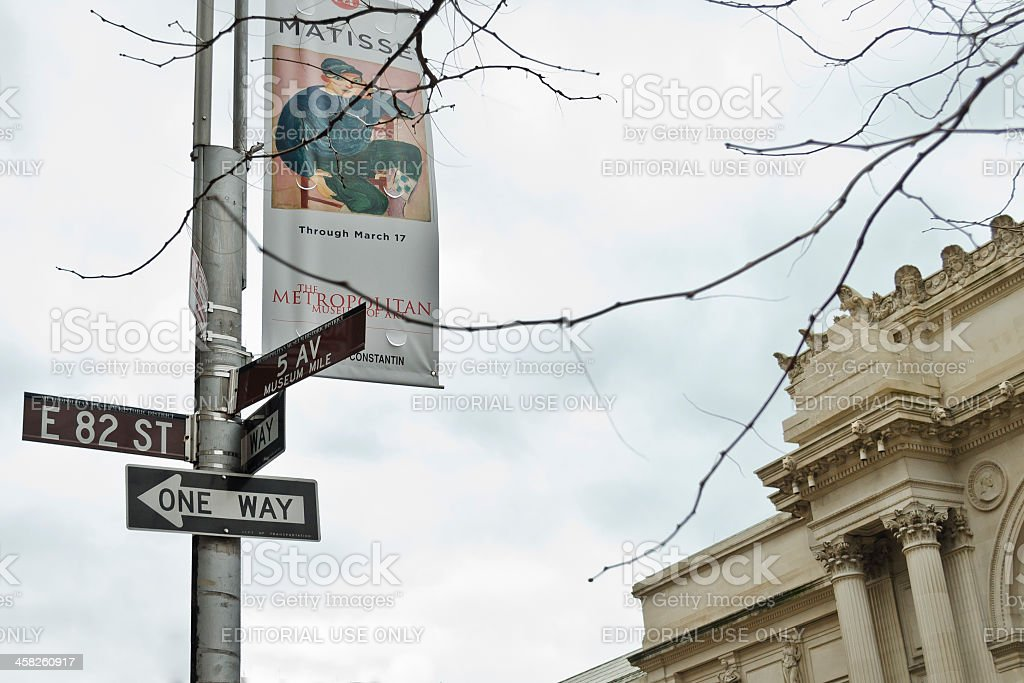 Museum Mile Sign, 5th Avenue, On Background The MET Building royalty-free stock photo