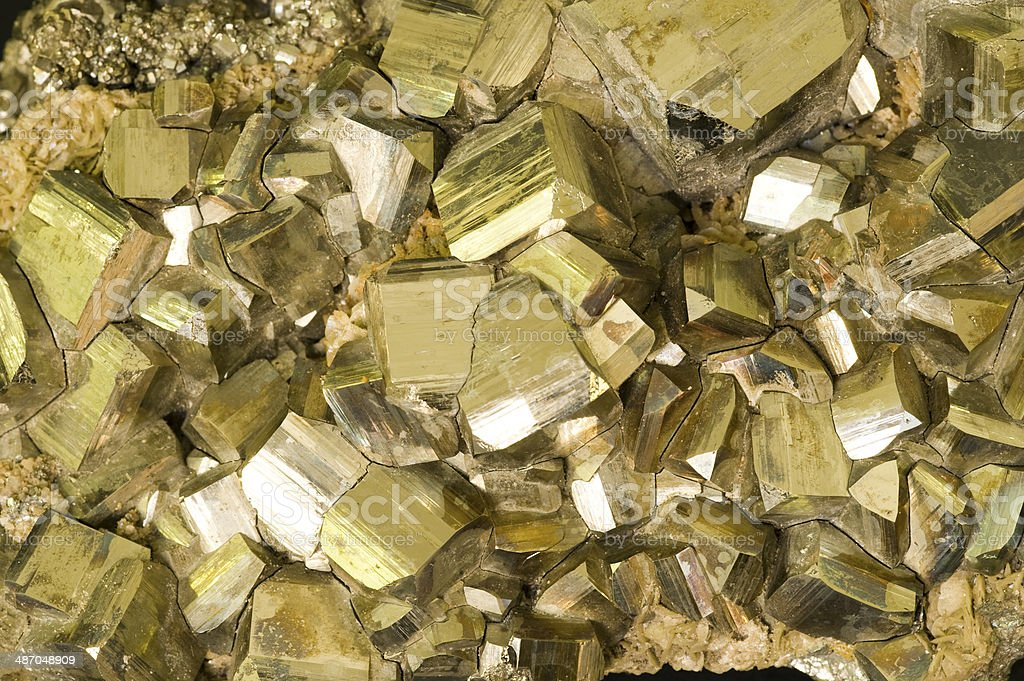 Museum mineral series: Iron Pyrites from Italy. stock photo