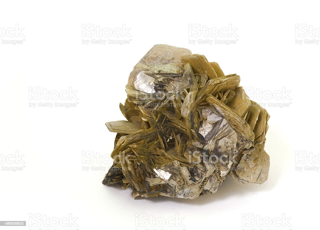 Museum mineral series: Muscovite mica. 8cm high. stock photo