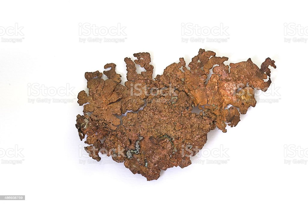 Museum mineral series: Native copper from Arizona, USA. 15cm across. stock photo