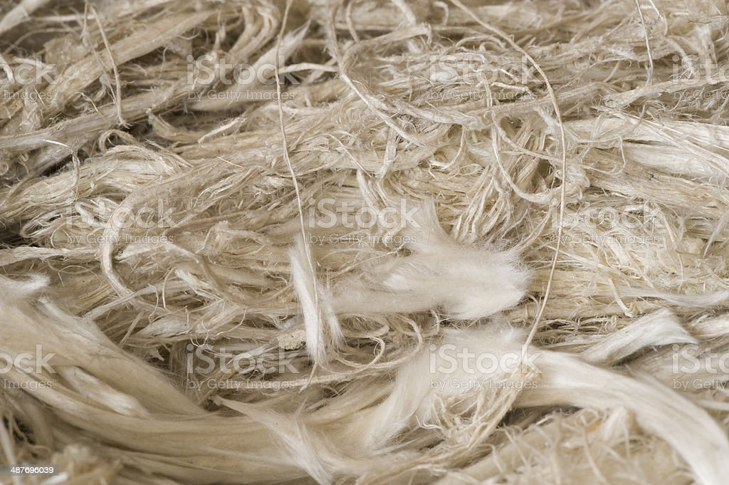 Museum mineral series: Natural asbestos fibres. stock photo