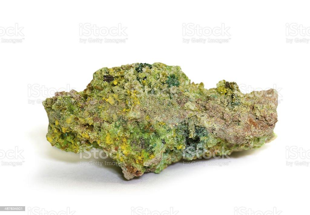 Museum mineral series: Three Uranium minerals from Zaire. 3.8cm across. stock photo