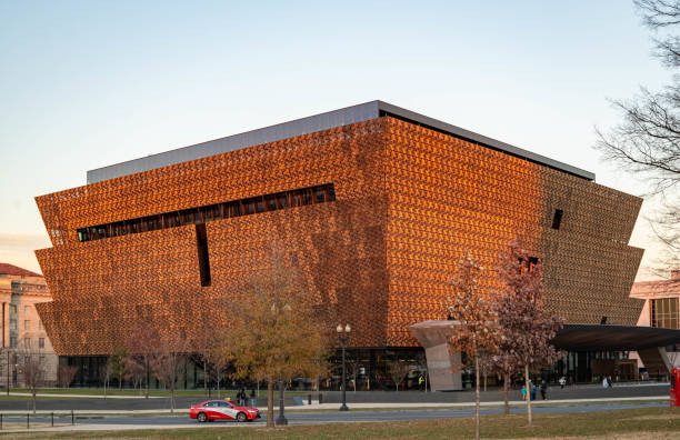 Museum of African American History and Culture. Bronze colored aluminum scrim features geometric patterns based on historic iron grilles. stock photo