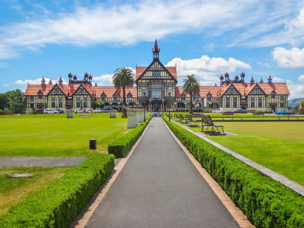 Museum of art and history in Rotorua New Zealand Museum and art gallery in the town of Rotorua, North Island, New Zealand on a sunny day rotorua stock pictures, royalty-free photos & images