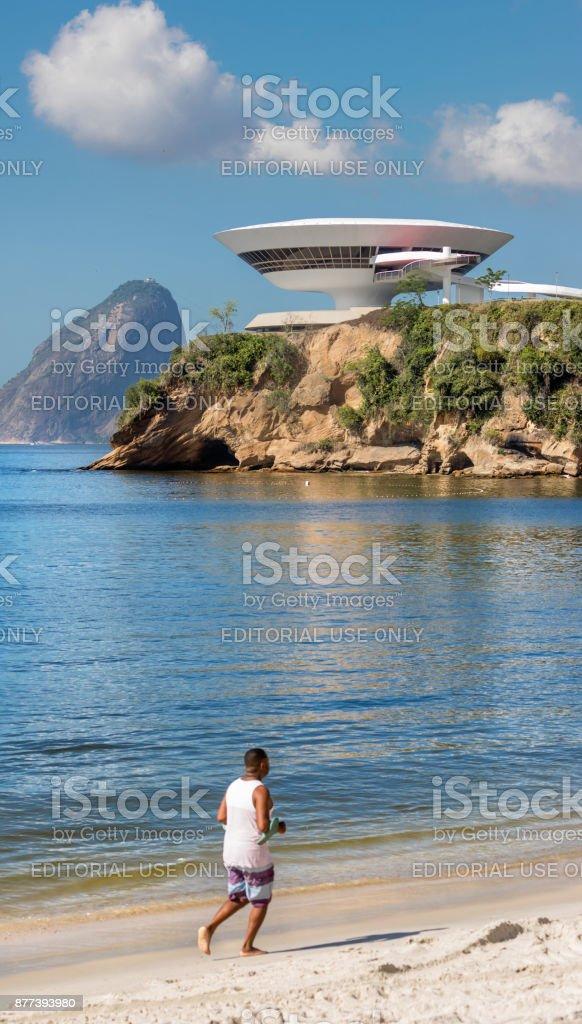 Museum of contemporary Art on Niteroi Rio de Janeiro Brazil stock photo