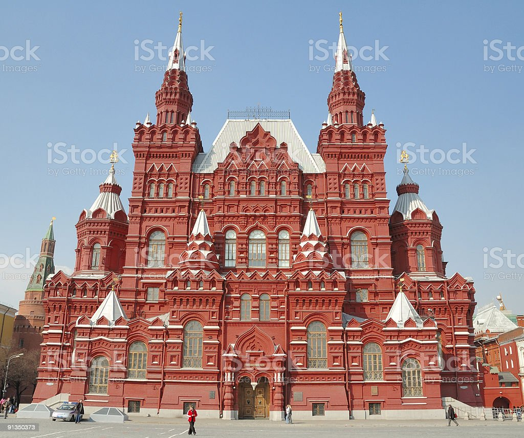 museum of history on red square in moscow royalty-free stock photo